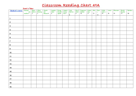 Book Reading Chart Classroom Reading Chart 4th Grade