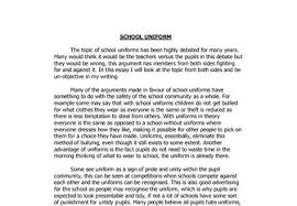 uniform essay why school uniforms are good essay school uniforms  why school uniforms are good essay school uniforms essay school argument essay on school uniforms argumentative