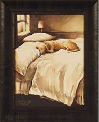 Lovely A Dogu0027s Life By John Rossini 17x21 Yellow Lab Labrador Dog Sleeping On Bed  Framed Art