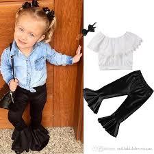 new girls leather pants three piece children s suit lace short vest hair band