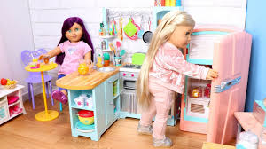 Baby Doll Kitchen In Dollhouse Setup Play With American Girl Doll