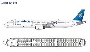 Aircraft A321 Seating Chart Air Astana Airlines Airbus A321 200 Aircraft Seating Chart