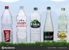 Bottled Water Brands In France On A Wall Stock Editorial