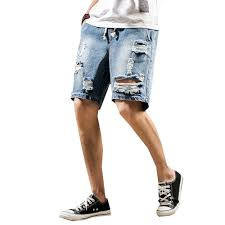 Light Blue Jean Shorts Mens Us 8 68 42 Off Men Short Jeans New Summer Male Solid Color Holes Denim Shorts Casual Knee Length Light Blue White Jeans Shorts Size M 5xl In Jeans