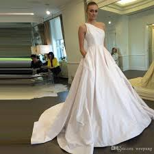 discount cheap 2017 a line white wedding dresses one shoulder with