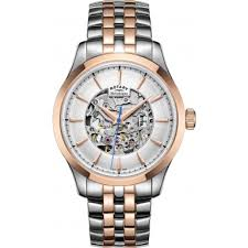 gb05034 06 rotary mens two tone rose gold plated skeleton rotary gb05034 06 mens two tone rose gold plated skeleton mechanical watch