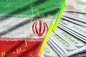 Iran Flag And Chart Growing Us Dollar Position With A Fan Of