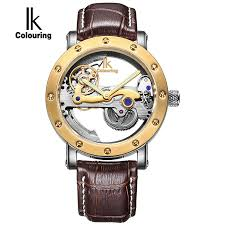 online get cheap self winding watches men automatic mechanical ik top brand luxury self wind automatic mechanical watches men rose gold case genuine leather skeleton