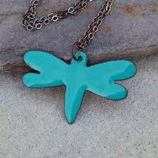 custom made enamel dragonfly pendant necklace enameled jewelry turquoise