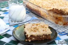 Banana Oatmeal Sheet Cake with Peanut Butter Frosting from ZagLeft