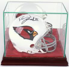 premium mini helmet glass display case with red suede cherry wood base mirrored back