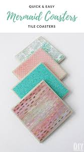 beautiful diy shimmering mermaid tile coasters these mermaid coasters are easy to make and will