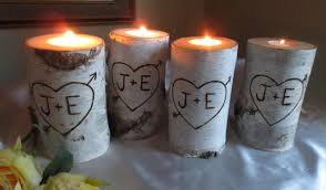 10 Personalized Birch Bark Candle Holders 4