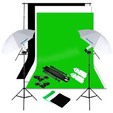 excelvan photography lighting kit 10x6 5ft 1250w daylight umbrella and backdrop support stand and 3 background 9x6ft white black green photo
