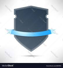 Blue Ribbon Template Modern Badge With Blue Ribbon Template Royalty Free Vector