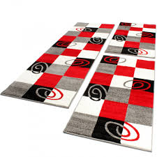 rug and runner set. bedroom runners - checked red 001 rug and runner set