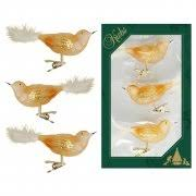 Vogel 3er Set Gold Transparent 11cm Glas