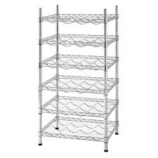 wire wine rack. Muscle Rack 35 In. H X 18 W 14 D 24-Bottle 6-Shelf Chrome Wire Wine Decorative Shelf-WBS181435 - The Home Depot E