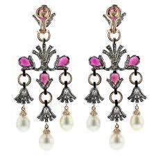 zorab 18k yellow gold paladium rubelite cultured pearl drop earrings with diamonds