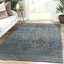 blue brown area rug hand knotted abstract on albion taupe bright