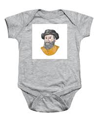 Ferdinand Magellan Bust Drawing Baby Onesie