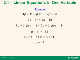 2 1 linear equations in one variable