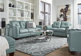 blue sofas living room: shop for a cindy crawford home marcella spa blue leather  pc living room at rooms