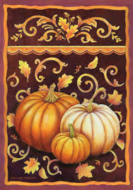 fall garden flags. This Is A Very Warm And Inviting Flag With It\u0027s Trio Of Fall Pumpkins Leaves In Rich Shades Orange, Brown Gold. Custom Decor - Garden Flags