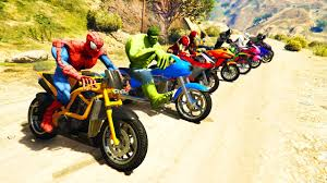 color motorcycles jumping in grand canyon with superheroes