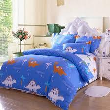 royal blue orange and white safari animal themed kids dinosaur print with palm tree full size bedding sets
