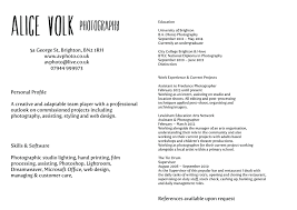 Resume For Photographer Photography Template Free Cv 2013