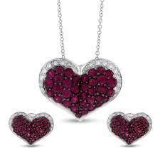 2 58 ct authentic effy ruby diamond heart pendant earrings 14k white gold