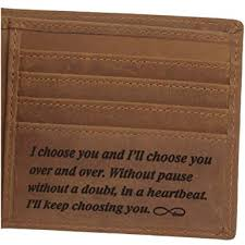 leather wallet for men personalized engraved gifts for men anniversary gifts for husband or