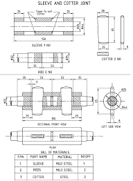 Knuckle Joint Design Machine Drawing Sleeve And Cotter Joint Socket And Spigot