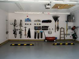 garage interior. Grey Floor With Modern Ceiling Lighting Fixtures For Chic Garage Interior Design Ideas Wall Mounted Storage Area