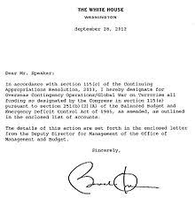 war on terror  letter from barack obama indicating appropriation of congressional funds for overseas contingency operations global war on terrorism
