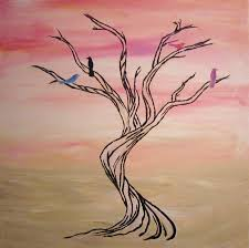 Easy Paintings Easy Tree Paintings On Canvas Tree Art Pink And White Wall Art