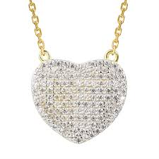 iced out heart pendant 14k gold tone sterling silver simulated diamond 18 necklace com