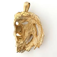 lot 111 gold plated textured and satin finish lion head pendant