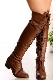 tan faux leather lace up flat over the knee riding boots