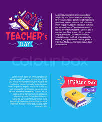 Teacher Brochure Example Teachers Day And Literacy Day Set Of Stock Vector Colourbox