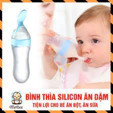 Bình thìa silicon ăn dặm, uống sữa an toàn cho bé yêu