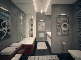 apartment bathroom wall decor. Luxurious Bathroom Designs For Apartments Ideas : Awesome Ultramodern Gray Tile Wall And Flooring Apartment Decor C
