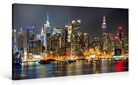 amazon large canvas print wall art manhattan night lights 40 x 20 inch canvas picture stretched on wooden frame new york city cityscape giclee  on canvas wall art new york city with amazon large canvas print wall art manhattan night lights
