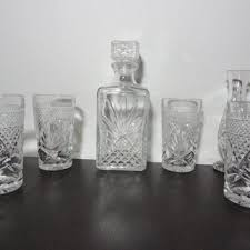 vintage clear glass liquor decanter with matching set of 4 glass