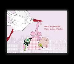 Mädchen Geburtsanzeige Mit Storch über Stadt Frisch Eingetroffen
