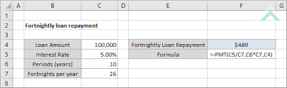 Calculate Loan Payment Formula Fortnightly Loan Repayment Excel