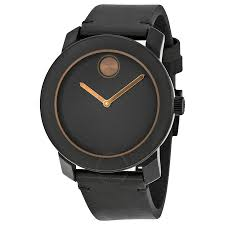 movado bold black dial black leather band black stainless steel case men s quartz watch 3600297