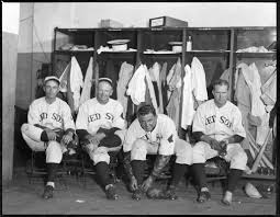 "Red Sox players in clubhouse. L-R: Ed ""Bull"" Durham, Wilcy Moore, Bob Kline  and Paul Ivy Andrews - Digital Commonwealth"