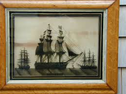 to view larger image of a 19th century reverse painting on glass of h m s royal